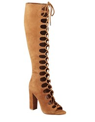 Kendall Kylie Emma Suede Lace Up Gladiator Boots Cognac