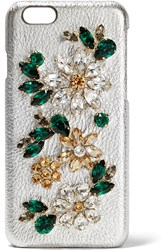 Dolce And Gabbana Crystal Embellished Metallic Textured Leather Iphone 6 Case