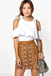 Boohoo Embroidered Front A Line Suedette Mini Skirt Tan