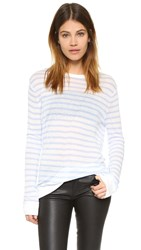 Alexander Wang Striped Long Sleeve Tee Off White And Chambray