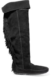 Maje Fringed Suede Knee Boots Black