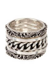 Lois Hill Sterling Silver Hammered Granulated And Chain Stack Ring Set Size 7 Metallic