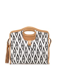 Cynthia Vincent Ally 3 Southwestern Print Leather Tote Bag White Black