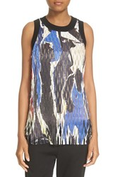 Dkny Women's Laser Cut Abstract Print Sleeveless Top Black