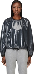 Alexander Wang Petrol Blue Laminated Terry Boxy Sweatshirt