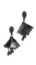 Oscar De La Renta Mini Impatiens Flower Drop Clip On Earrings Black