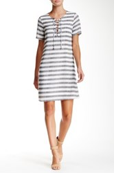 Daniel Rainn Short Sleeve Lace Up Stripe Shift Dress Multi
