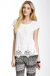 Chaudry Embroidery Short Sleeve Tee White