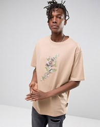 Jaded London Oversized T Shirt With Floral Print Stone