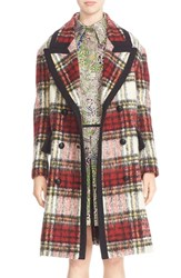 Burberry Women's Prorsum Tartan Plaid Wool Blend Coat