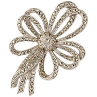 Susan Caplan Vintage 1940S Silver Plated Marcasite Triple Bow Brooch Silver