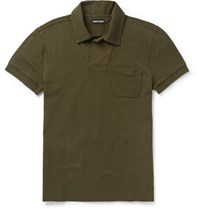 Tom Ford Slim Fit Cotton Pique Polo Shirt Army Green