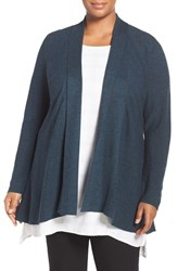 Eileen Fisher Plus Size Women's Long Triblend Knit Cardigan