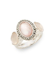 Judith Jack Marcasite Abalone Rock Crystal And Sterling Silver Ring Pink