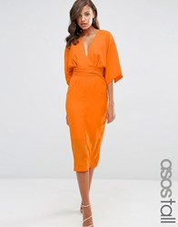 Asos Tall Kimono Deep Plunge Midi Dress Orange