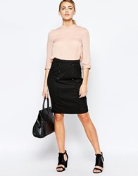 Oasis Pencil Skirt With Button Detail Black