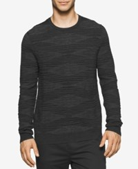 Calvin Klein Men's Plaited Crew Neck Sweater Black Combo