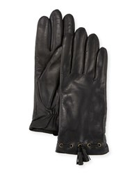 Ugg Leather Tassel Gloves W Faux Fur Lining Black