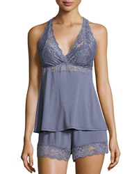 Fleurt Whispers Of Love Lace Inset Pajama Set Blue Granite Women's