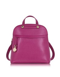 Furla Piper M Embossed Leather Backpack Raspberry