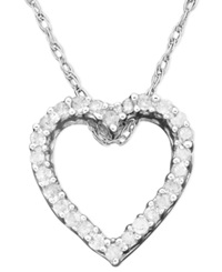 Macy's Diamond Heart Pendant Necklace In 14K White Gold 1 10 Ct. T.W.