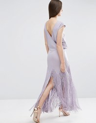 Asos Fringe Maxi Dress With Deep V Back Lilac Purple
