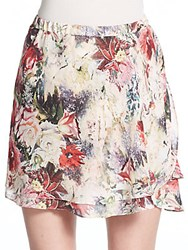 Haute Hippie Floral Silk Mini Skirt Blush Multi