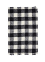 Destin Tartan Plaid Wool Cashmere Throw Black