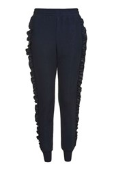 Topshop Ruffle Joggers Navy Blue