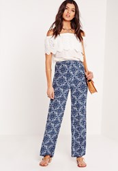Missguided Moroccan Print Wide Leg Trousers Blue Blue
