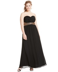 City Chic Plus Size Beaded Empire Waist Sweetheart Gown Black