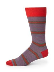 Saks Fifth Avenue Mixed Stripe Cotton Socks Red Blue