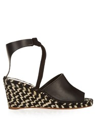 Proenza Schouler Striped Wedge Leather Espadrilles Black
