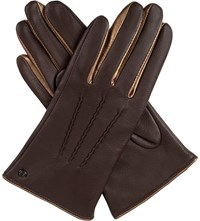 Dents Josephine Metallic Detail Leather Gloves Mocca Bronze