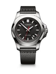 Victorinox Inox Stainless Steel And Leather Strap Watch Black