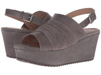 Trask Shari Gray Italian Suede Gray Italian Washed Sheepskin Women's Wedge Shoes Brown