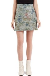 Topshop Metallic Floral Boucle Skirt Green Multi