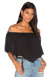Three Eighty Two Fiona Off Shoulder Ruffle Top Black