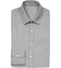 Canali Checked Cotton Flannel Shirt Grey