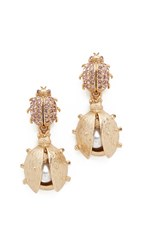 Oscar De La Renta Crystal Bug Earrings Peach