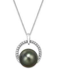Macy's Tahitian Pearl 12 Mm And Diamond 1 5 Ct. T.W. Arch Pendant Necklace In 14K White Gold