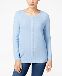 Karen Scott Cable Knit Crew Neck Sweater Only At Macy's Waterfall Marl
