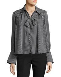 Romeo And Juliet Couture Long Sleeve Striped Tie Neck Top Black Tan