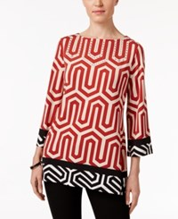 Jm Collection Petites Petite Printed Ballet Neck Tunic Only At Macy's Red Gorges