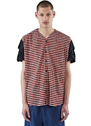 Aganovich Oversized Plisse Checked Shirt Red