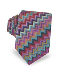 Missoni Diagonal Zig Zag Woven Silk Men's Narrow Tie Purple