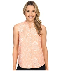 Woolrich Twin Lakes Printed Shirt Shell Floral Women's Sleeveless Orange