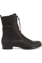 Alexandre Birman Benjamin Lace Up Python Boots Black