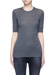 Vince Short Sleeve Wool Sweater Grey