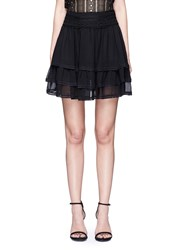 Nicholas Guipure Lace Crepon Tiered Mini Skirt Black